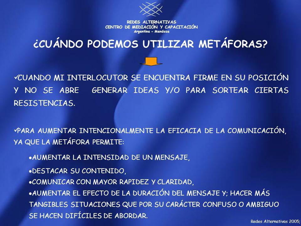 REDES ALTERNATIVAS CENTRO DE MEDIACIÓN Y CAPACITACIÓN Argentina - Mendoza CUANDO MI INTERLOCUTOR SE ENCUENTRA FIRME EN SU POSICIÓN Y NO SE ABRE GENERA