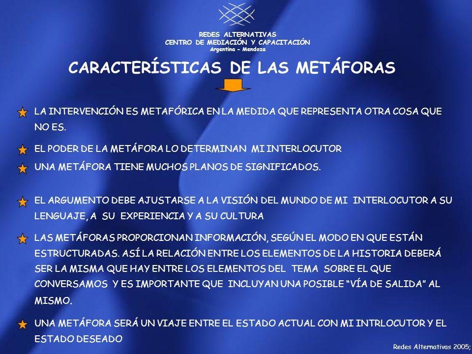 REDES ALTERNATIVAS CENTRO DE MEDIACIÓN Y CAPACITACIÓN Argentina - Mendoza UNA METÁFORA SERÁ UN VIAJE ENTRE EL ESTADO ACTUAL CON MI INTRLOCUTOR Y EL ES