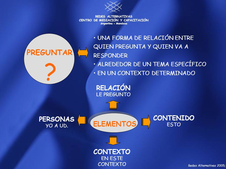 REDES ALTERNATIVAS CENTRO DE MEDIACIÓN Y CAPACITACIÓN Argentina - Mendoza ? UNA FORMA DE RELACIÓN ENTRE QUIEN PREGUNTA Y QUIEN VA A RESPONDER ALREDEDO