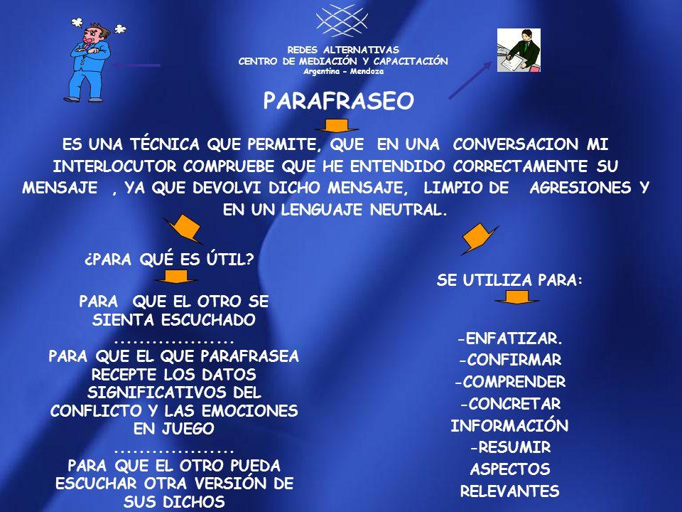 REDES ALTERNATIVAS CENTRO DE MEDIACIÓN Y CAPACITACIÓN Argentina - Mendoza ES UNA TÉCNICA QUE PERMITE, QUE EN UNA CONVERSACION MI INTERLOCUTOR COMPRUEB