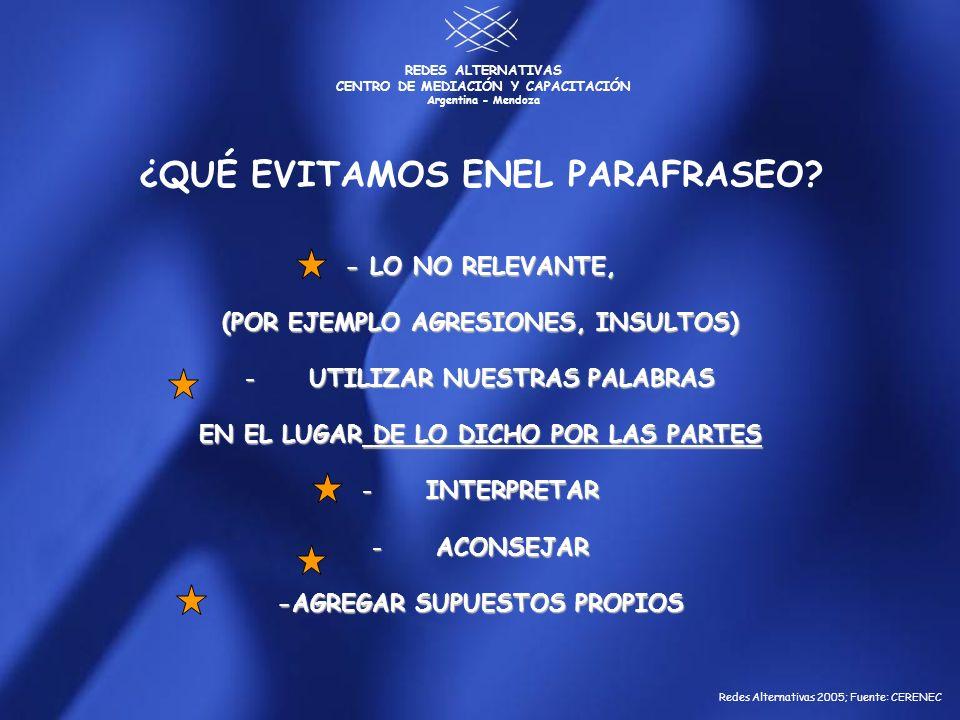 REDES ALTERNATIVAS CENTRO DE MEDIACIÓN Y CAPACITACIÓN Argentina - Mendoza 5 AMBOS LE DIMOS UN SENTIDO DIFERENTE A LO DICHO POR EL OTRO CONSENSO DE SIGNIFICADO LAS PARTES PERCIBEN EL CONFLICTO EN FORMA DIFERENTE PORQUE CONSTRUYEN SIGNIFICADOS SOBRE LO DICHO O HECHO POR EL OTRO SIN CHEQUEAR SI SUS ATRIBUCIONES SE CORRESPONDEN CON LA INTENCIÓN DE LA OTRA PARTE.