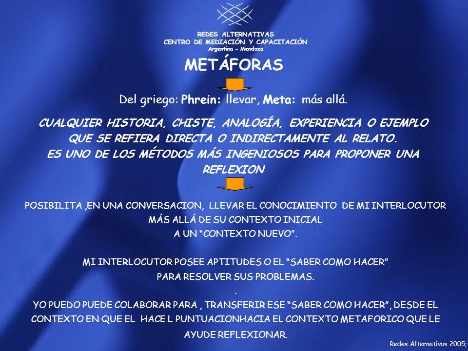 REDES ALTERNATIVAS CENTRO DE MEDIACIÓN Y CAPACITACIÓN Argentina - Mendoza Del griego: Phrein: llevar, Meta: más allá. CUALQUIER HISTORIA, CHISTE, ANAL
