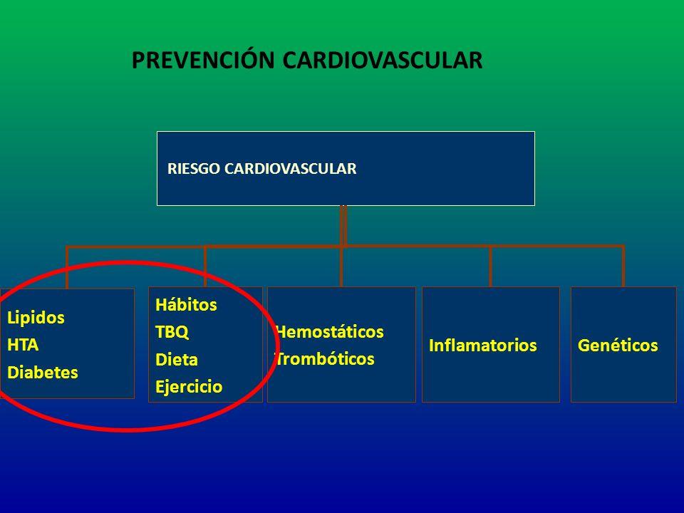 RIESGO CARDIOVASCULAR Lipidos HTA Diabetes Hábitos TBQ Dieta Ejercicio Hemostáticos Trombóticos InflamatoriosGenéticos PREVENCIÓN CARDIOVASCULAR