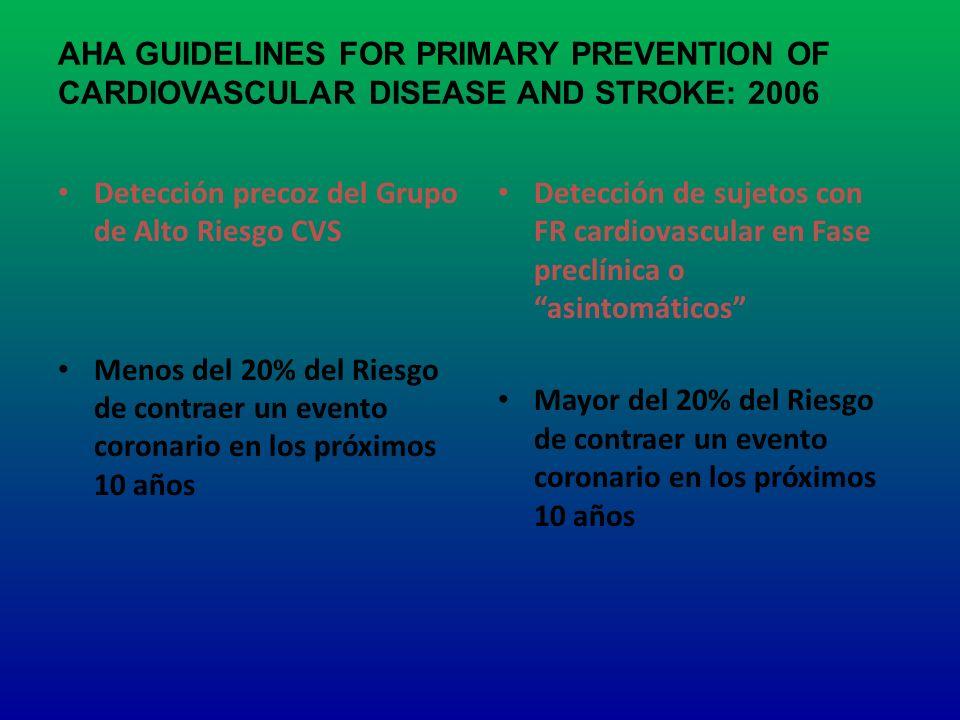 AHA GUIDELINES FOR PRIMARY PREVENTION OF CARDIOVASCULAR DISEASE AND STROKE: 2006 Detección precoz del Grupo de Alto Riesgo CVS Menos del 20% del Riesg