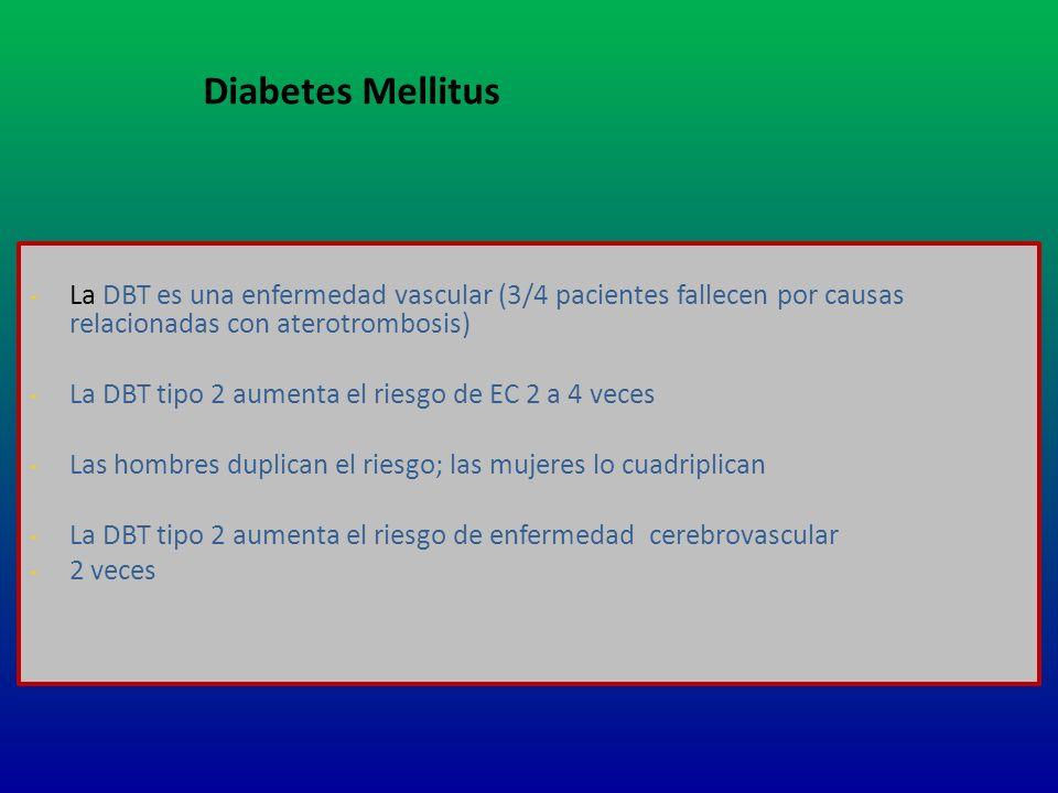 - La DBT es una enfermedad vascular (3/4 pacientes fallecen por causas relacionadas con aterotrombosis) - La DBT tipo 2 aumenta el riesgo de EC 2 a 4