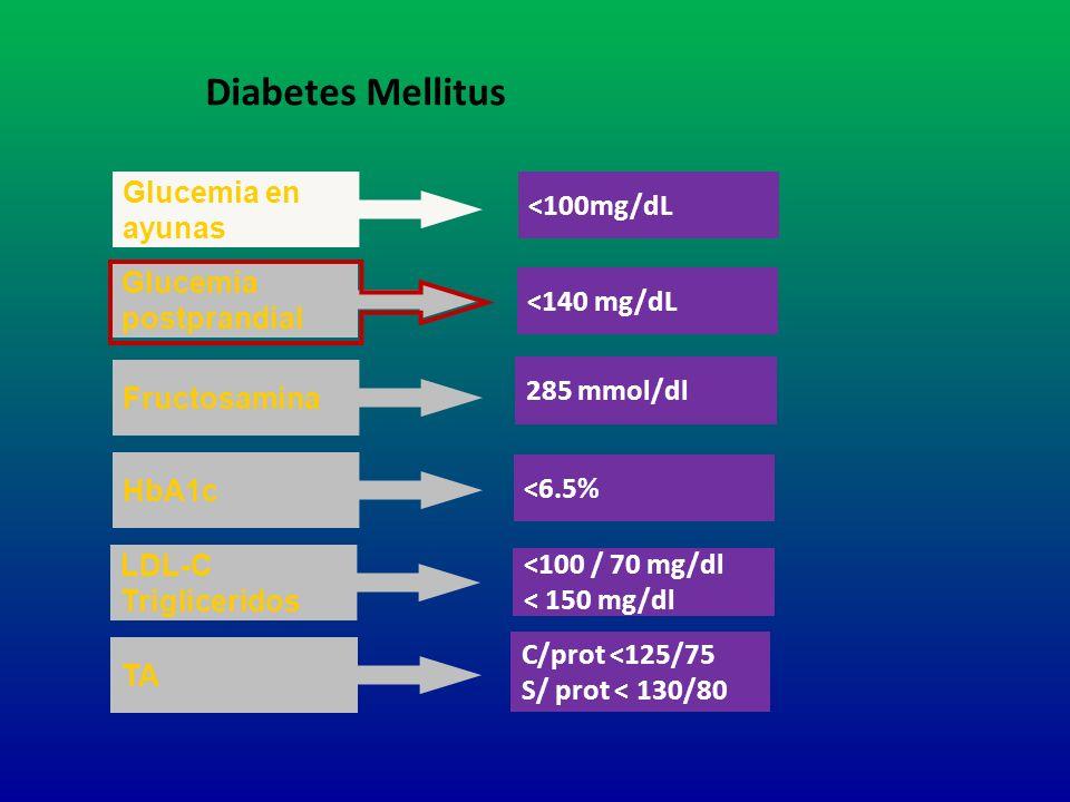 Glucemia en ayunas <100mg/dL Glucemia postprandial <140 mg/dL 285 mmol/dl HbA1c <6.5% Fructosamina Diabetes Mellitus LDL-C Trigliceridos <100 / 70 mg/