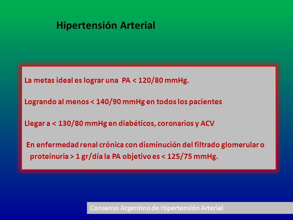 La metas ideal es lograr una PA < 120/80 mmHg. Logrando al menos < 140/90 mmHg en todos los pacientes Llegar a < 130/80 mmHg en diabéticos, coronarios