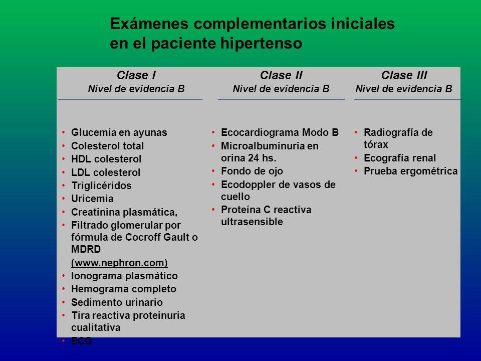 Exámenes complementarios iniciales en el paciente hipertenso Clase I Nivel de evidencia B Clase II Nivel de evidencia B Clase III Nivel de evidencia B