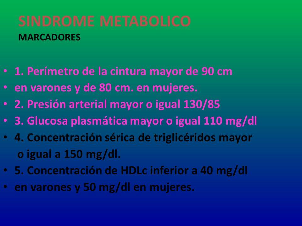 SINDROME METABOLICO MARCADORES 1. Perímetro de la cintura mayor de 90 cm en varones y de 80 cm. en mujeres. 2. Presión arterial mayor o igual 130/85 3