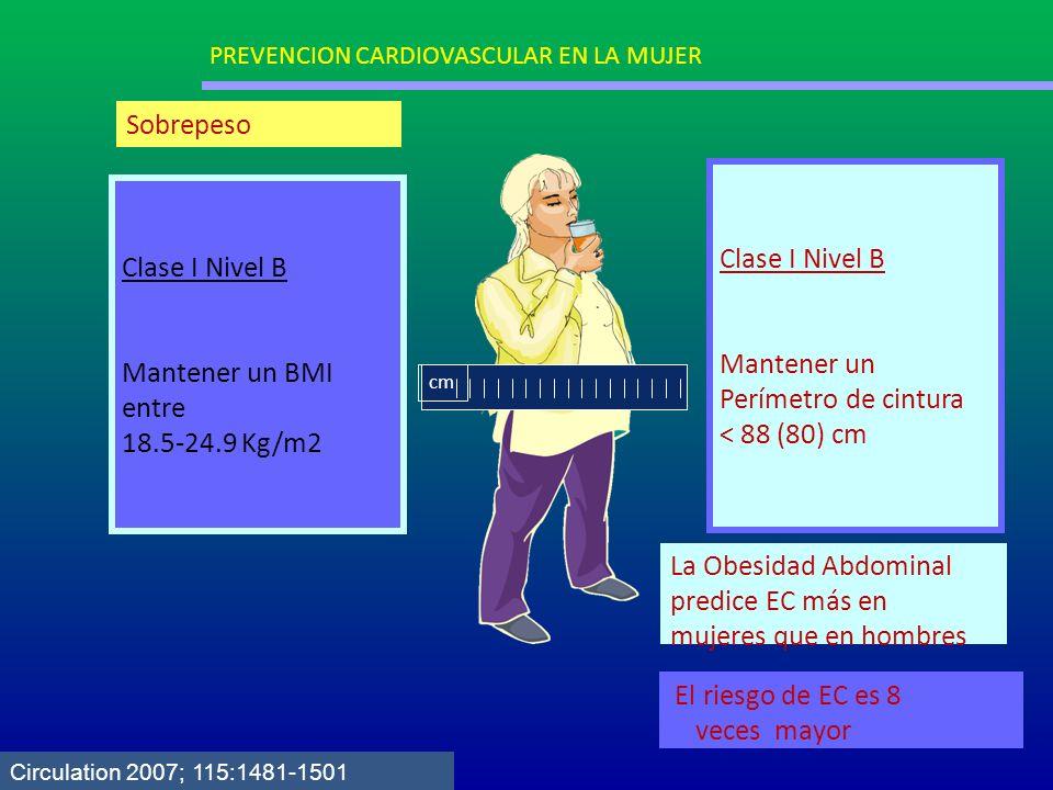 Clase I Nivel B Mantener un BMI entre 18.5-24.9 Kg/m2 Clase I Nivel B Mantener un Perímetro de cintura < 88 (80) cm cm La Obesidad Abdominal predice E