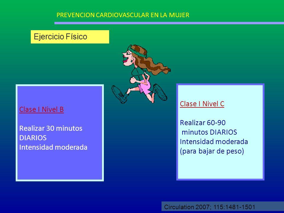 Clase I Nivel B Realizar 30 minutos DIARIOS Intensidad moderada Clase I Nivel C Realizar 60-90 minutos DIARIOS Intensidad moderada (para bajar de peso