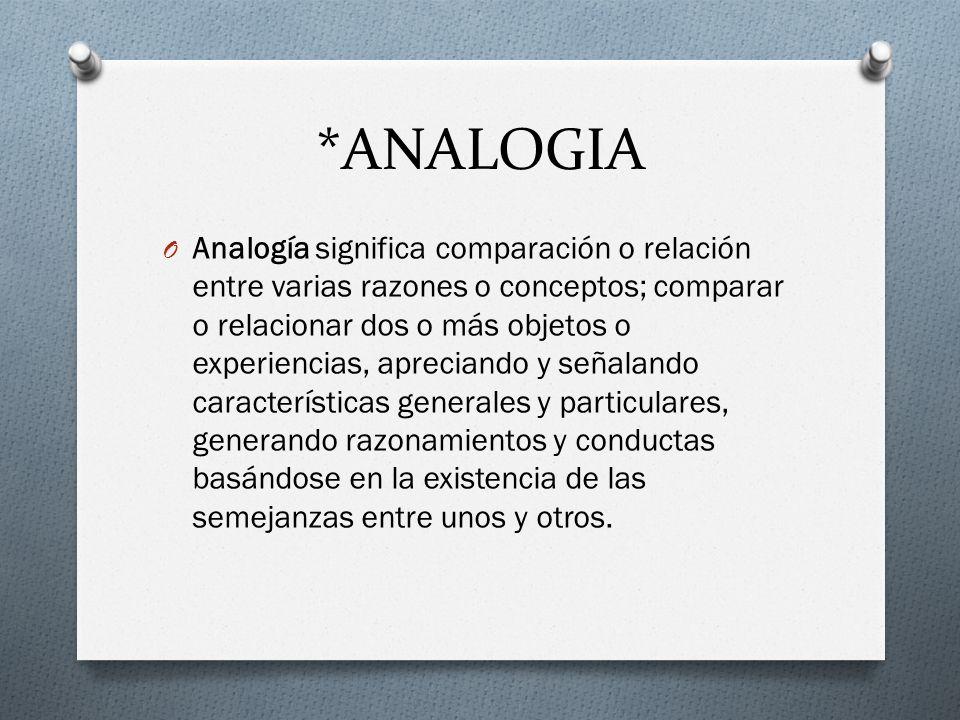 *ANALOGIA O Analogía significa comparación o relación entre varias razones o conceptos; comparar o relacionar dos o más objetos o experiencias, apreci