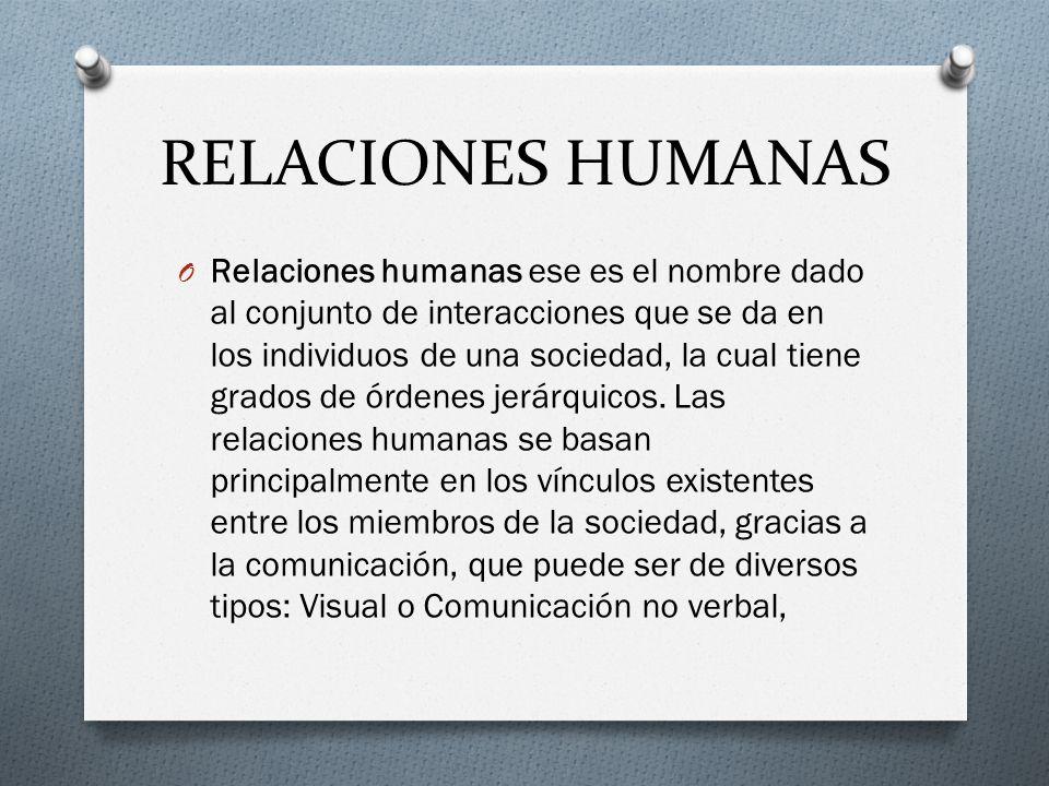 RELACIONES HUMANAS O Relaciones humanas ese es el nombre dado al conjunto de interacciones que se da en los individuos de una sociedad, la cual tiene