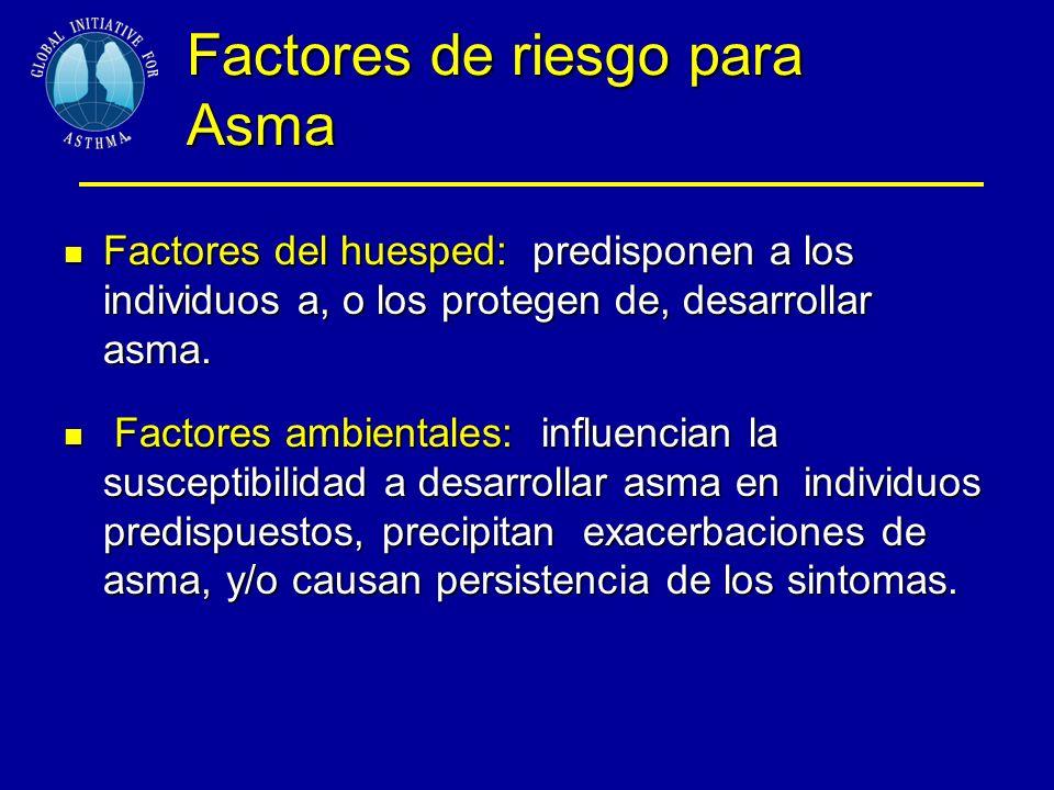 Factores de riesgo para Asma Factores del huesped: predisponen a los individuos a, o los protegen de, desarrollar asma.