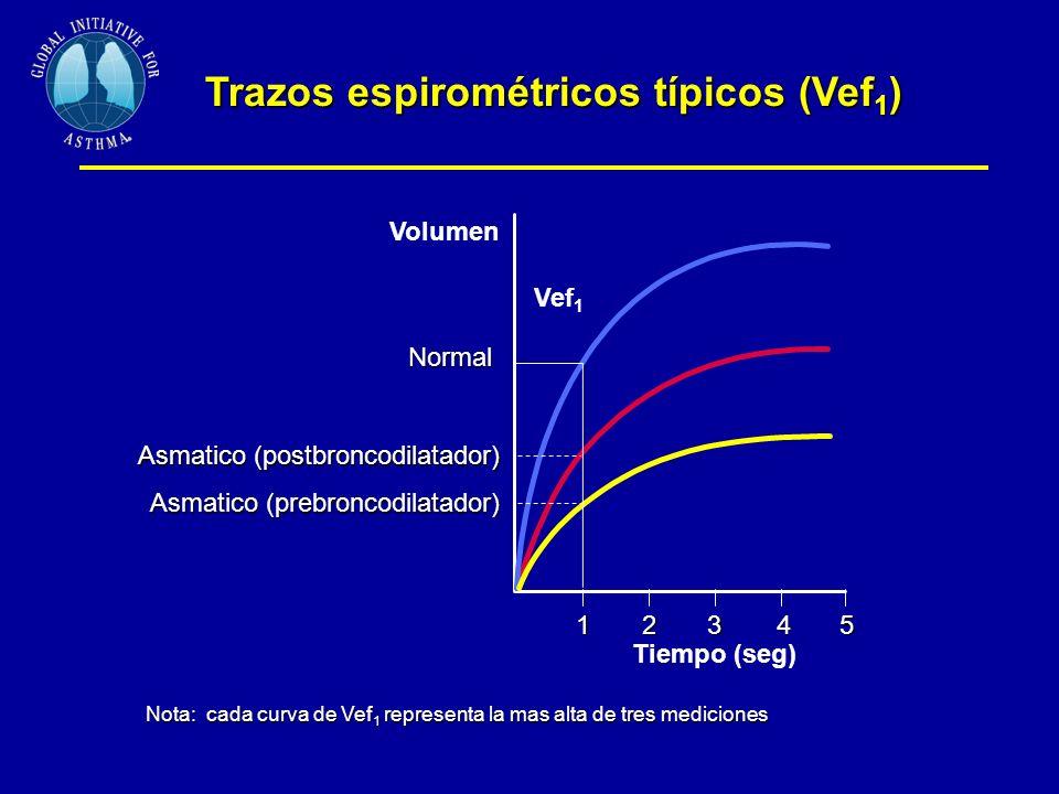 Trazos espirométricos típicos (Vef 1 ) 1 Tiempo (seg) 2345 Vef 1 Volumen Normal Asmatico (postbroncodilatador) Asmatico (prebroncodilatador) Nota: cada curva de Vef 1 representa la mas alta de tres mediciones