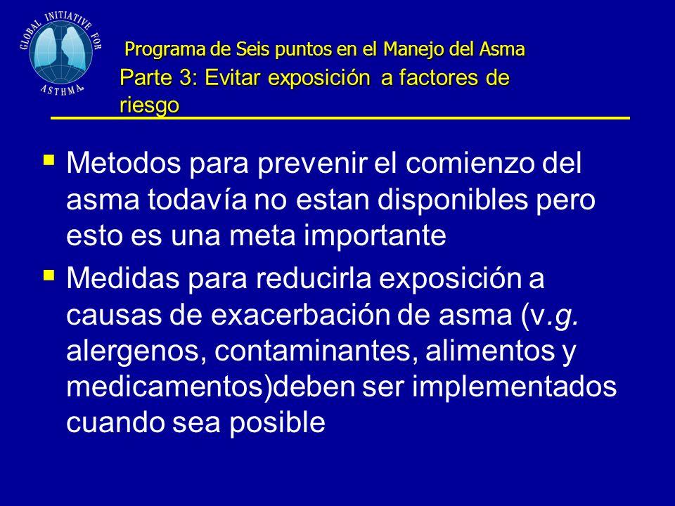 Programa de Seis puntos en el Manejo del Asma Parte 3: Evitar exposición a factores de riesgo Programa de Seis puntos en el Manejo del Asma Parte 3: Evitar exposición a factores de riesgo Metodos para prevenir el comienzo del asma todavía no estan disponibles pero esto es una meta importante Medidas para reducirla exposición a causas de exacerbación de asma (v.g.