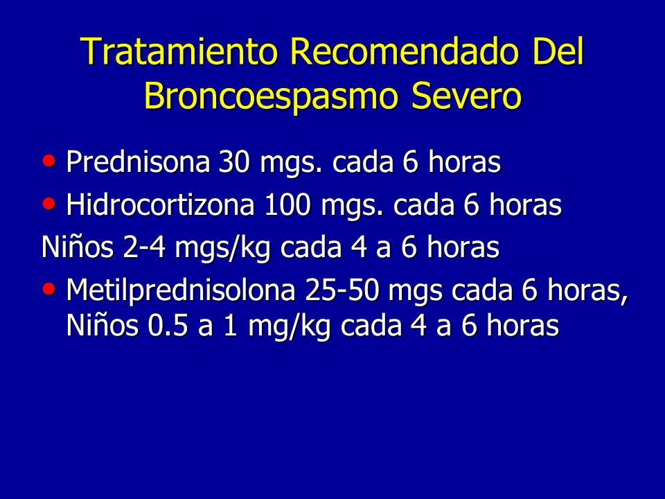 Tratamiento Recomendado Del Broncoespasmo Severo Prednisona 30 mgs.