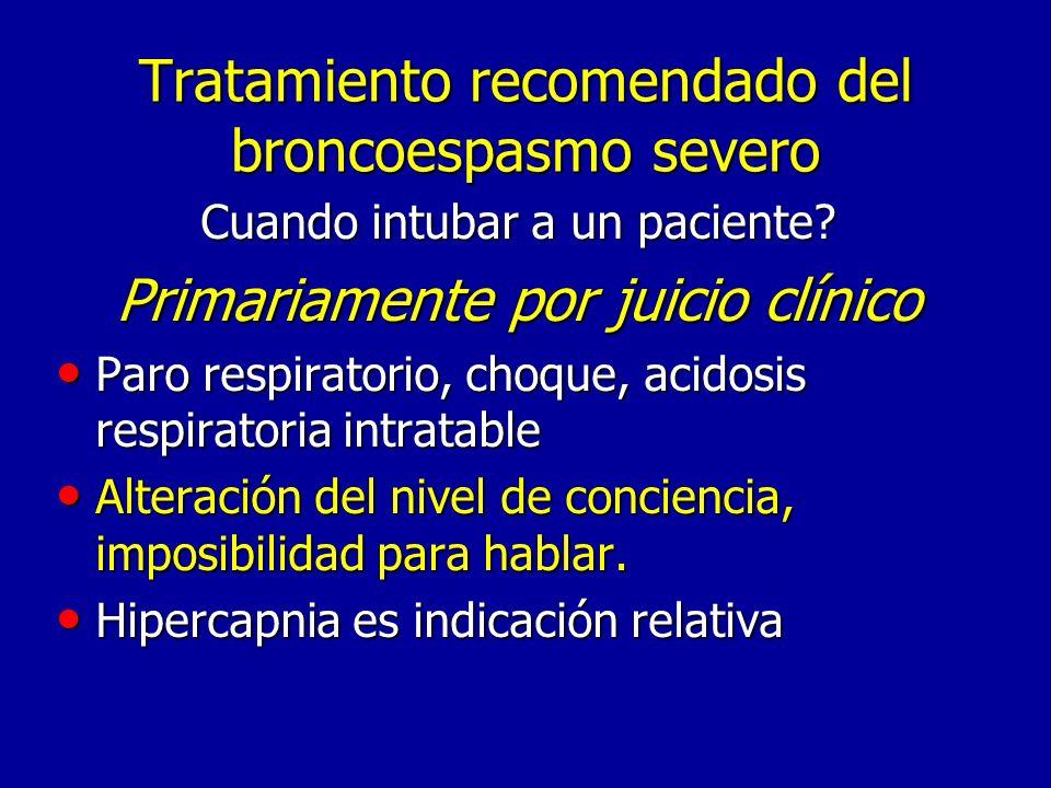 Tratamiento recomendado del broncoespasmo severo Cuando intubar a un paciente.