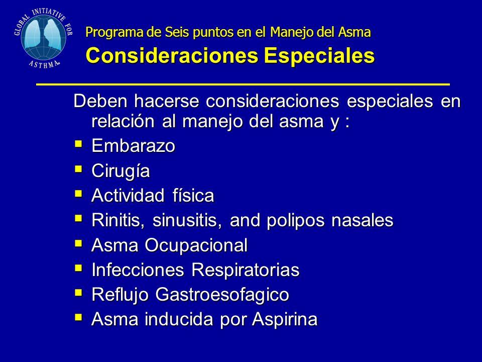 Programa de Seis puntos en el Manejo del Asma Consideraciones Especiales Deben hacerse consideraciones especiales en relación al manejo del asma y : Embarazo Embarazo Cirugía Cirugía Actividad física Actividad física Rinitis, sinusitis, and polipos nasales Rinitis, sinusitis, and polipos nasales Asma Ocupacional Asma Ocupacional Infecciones Respiratorias Infecciones Respiratorias Reflujo Gastroesofagico Reflujo Gastroesofagico Asma inducida por Aspirina Asma inducida por Aspirina