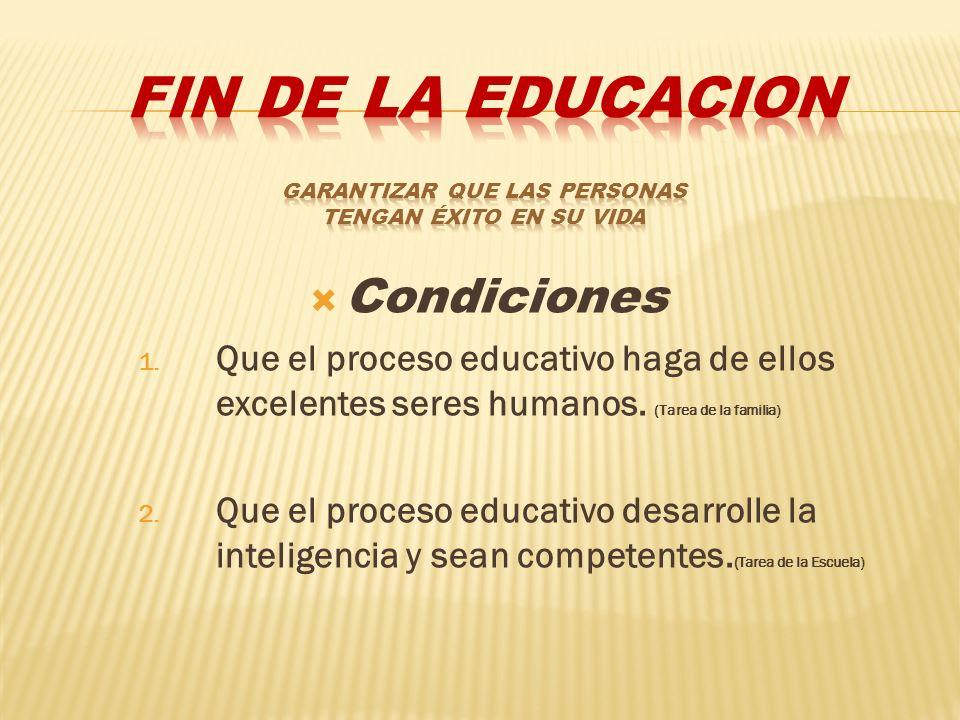 Condiciones 1. Que el proceso educativo haga de ellos excelentes seres humanos. (Tarea de la familia) 2. Que el proceso educativo desarrolle la inteli