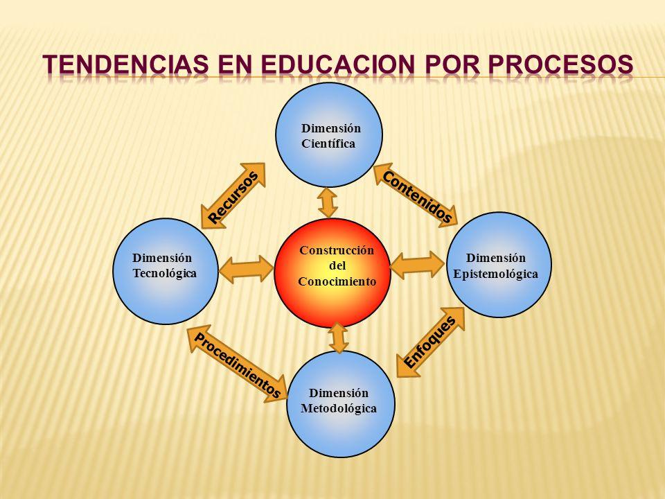 Construcción del Conocimiento Dimensión Metodológica Dimensión Tecnológica Dimensión Epistemológica Dimensión Científica Recursos Contenidos Enfoques
