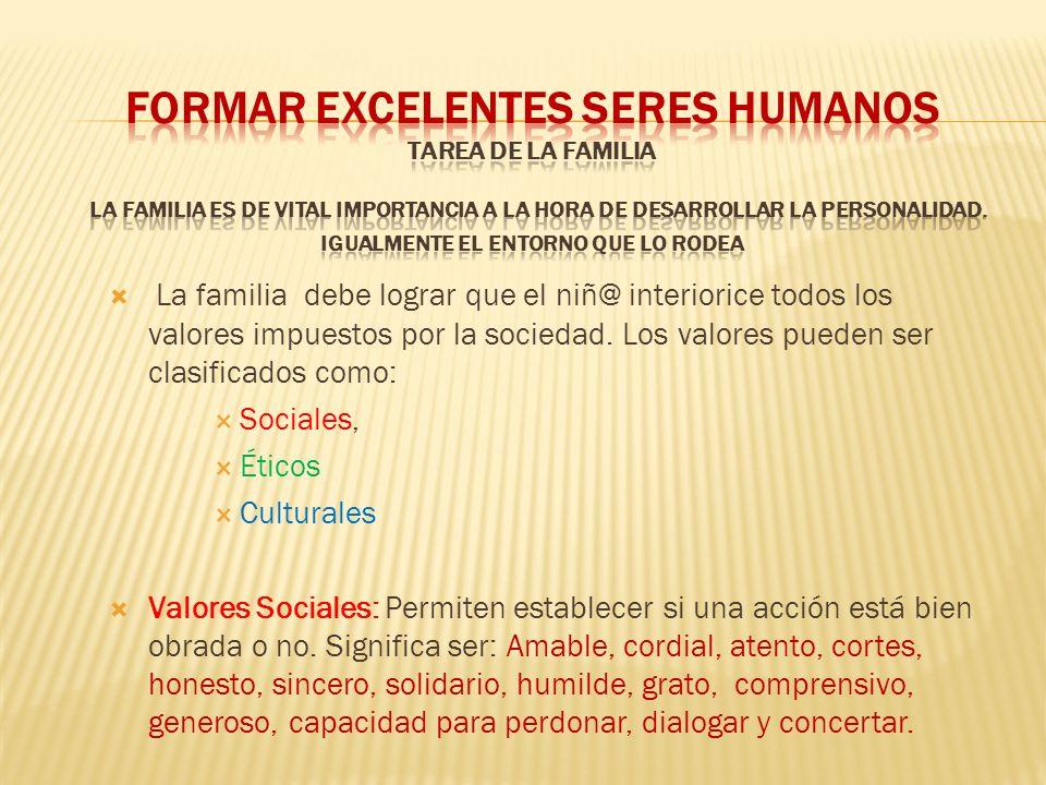 La familia debe lograr que el niñ@ interiorice todos los valores impuestos por la sociedad. Los valores pueden ser clasificados como: Sociales, Éticos