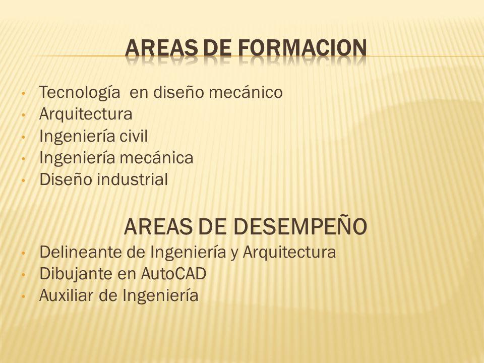 Tecnología en diseño mecánico Arquitectura Ingeniería civil Ingeniería mecánica Diseño industrial AREAS DE DESEMPEÑO Delineante de Ingeniería y Arquit