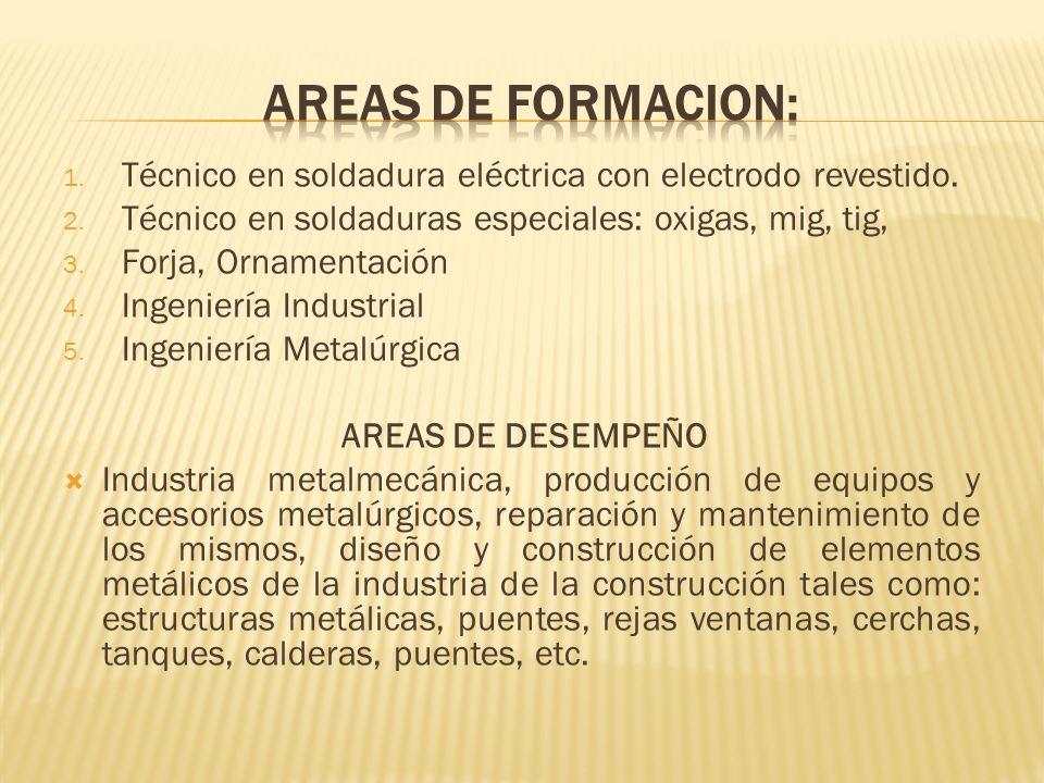 1. Técnico en soldadura eléctrica con electrodo revestido. 2. Técnico en soldaduras especiales: oxigas, mig, tig, 3. Forja, Ornamentación 4. Ingenierí