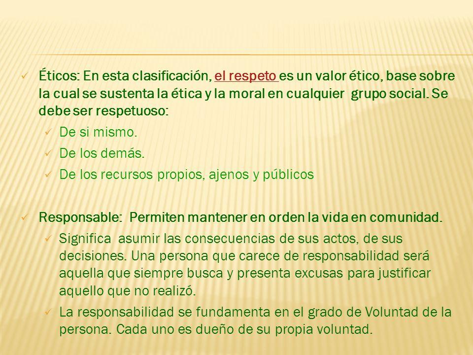 Éticos: En esta clasificación, el respeto es un valor ético, base sobre la cual se sustenta la ética y la moral en cualquier grupo social. Se debe ser