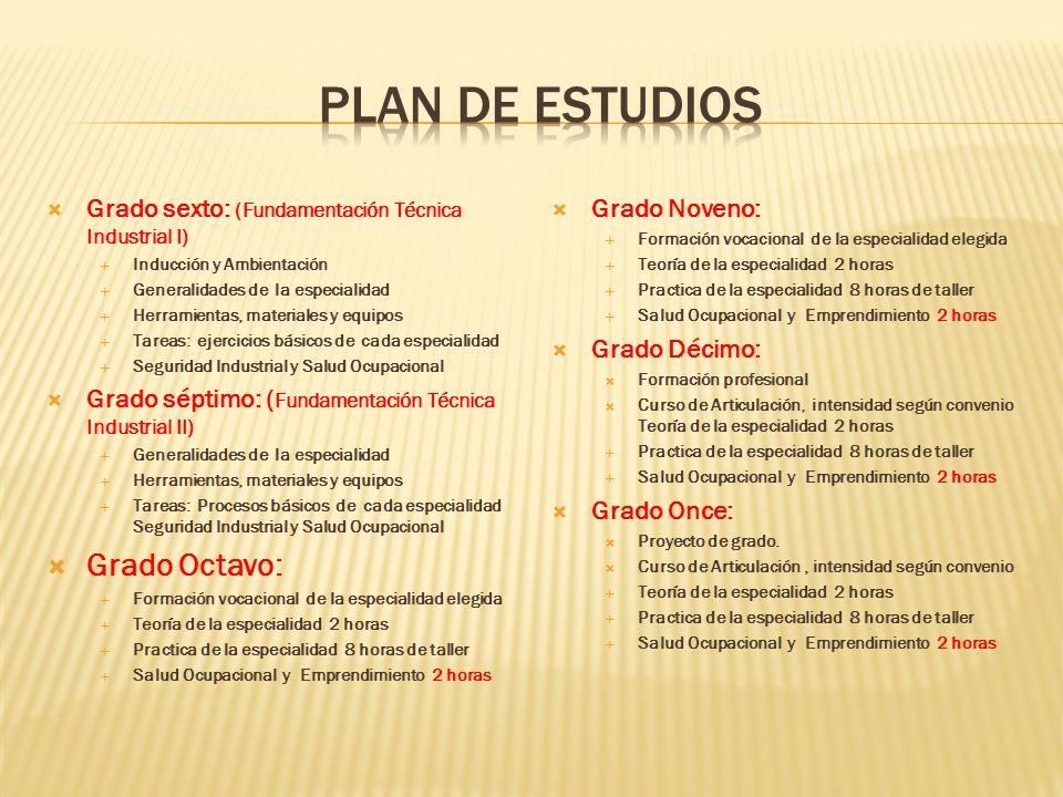 Grado sexto: (Fundamentación Técnica Industrial I) Inducción y Ambientación Generalidades de la especialidad Herramientas, materiales y equipos Tareas