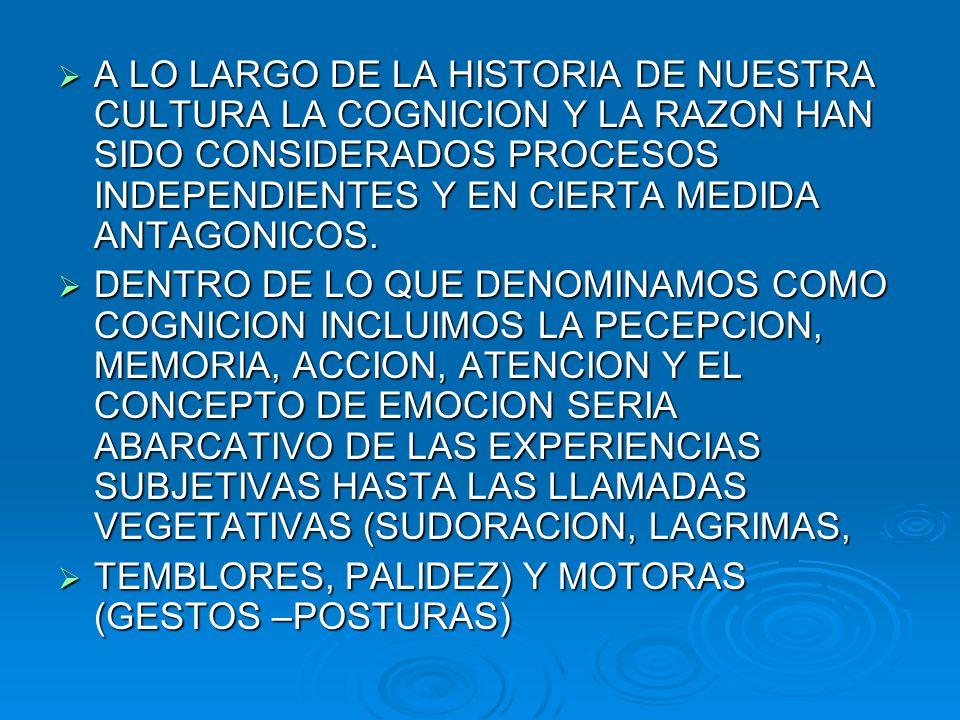 A LO LARGO DE LA HISTORIA DE NUESTRA CULTURA LA COGNICION Y LA RAZON HAN SIDO CONSIDERADOS PROCESOS INDEPENDIENTES Y EN CIERTA MEDIDA ANTAGONICOS. A L
