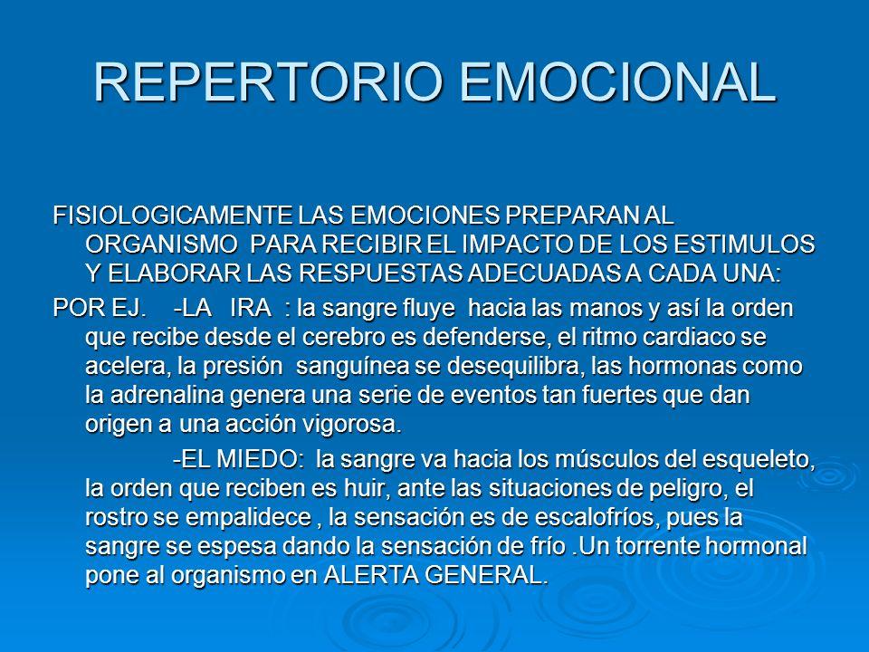 REPERTORIO EMOCIONAL EL AMOR: LOS SENTIMIENTOS DE TERNURA Y PLACER DAN LUGAR A LA ACTIVIDAD DEL SISTEMA PARASIMPATICO, LO OPUESTO A HUIR, PRODUCE UNA SENSACION DE RELAJACION, DONDE TODO EL ORGANISMO ENTRA EN CALMA, Y PLENITUD, SSATISFACCION EXPANSIVA.