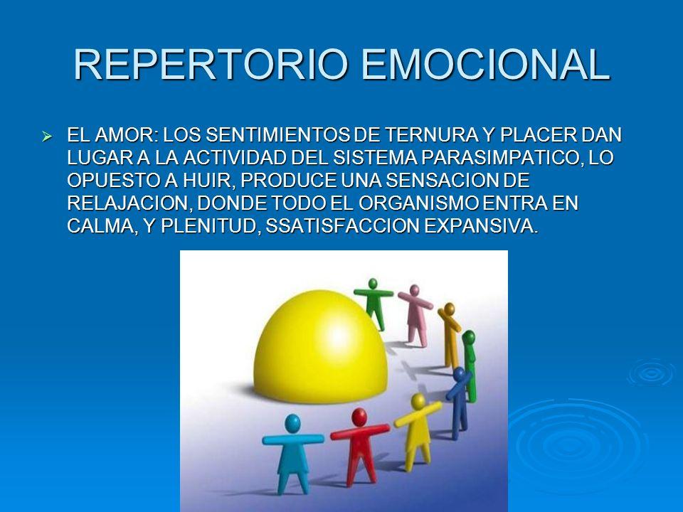 REPERTORIO EMOCIONAL EL AMOR: LOS SENTIMIENTOS DE TERNURA Y PLACER DAN LUGAR A LA ACTIVIDAD DEL SISTEMA PARASIMPATICO, LO OPUESTO A HUIR, PRODUCE UNA