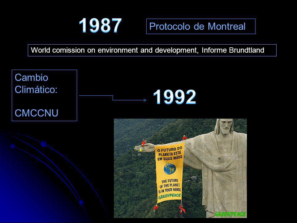 World comission on environment and development, Informe Brundtland Cambio Climático: CMCCNU Protocolo de Montreal