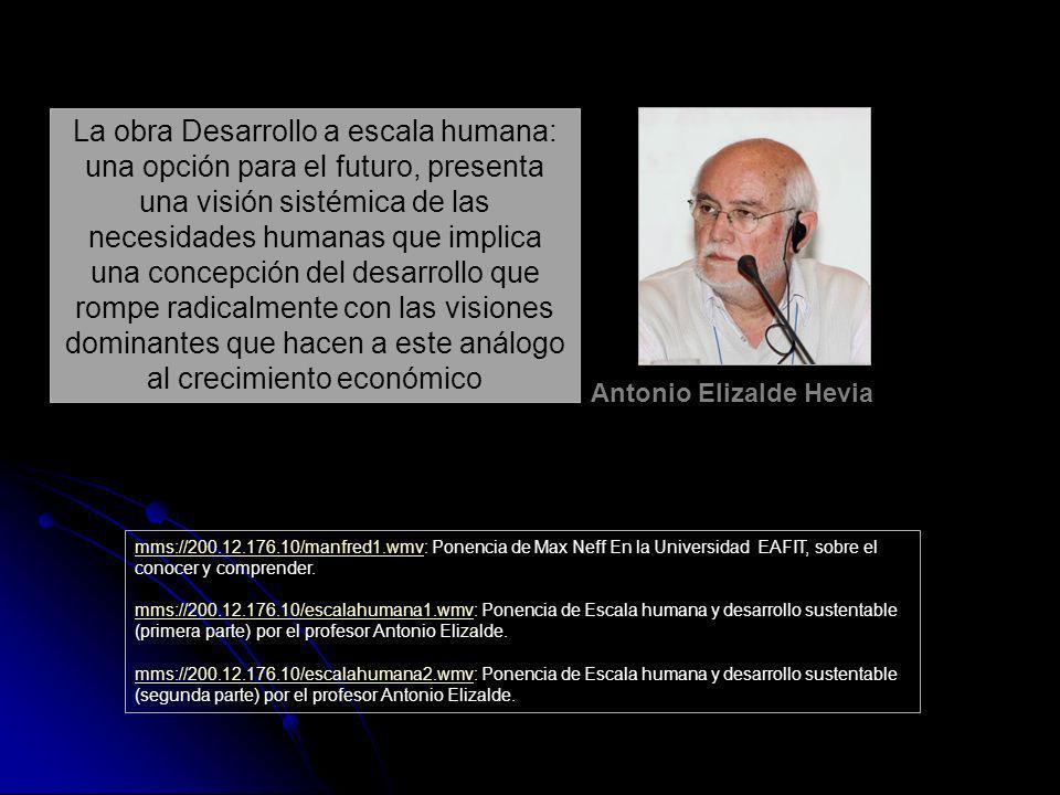 Antonio Elizalde Hevia La obra Desarrollo a escala humana: una opción para el futuro, presenta una visión sistémica de las necesidades humanas que imp