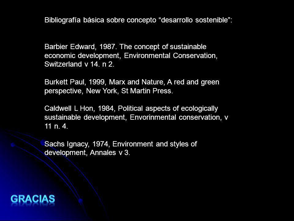 Bibliografía básica sobre concepto desarrollo sostenible: Barbier Edward, 1987. The concept of sustainable economic development, Environmental Conserv