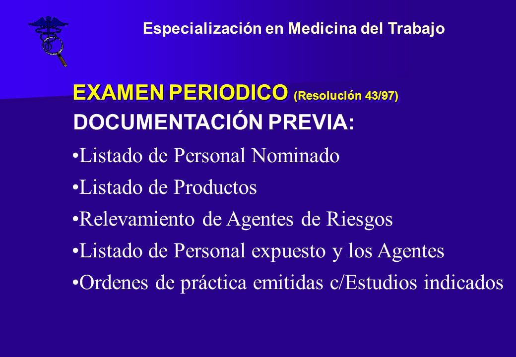 EXAMEN PERIODICO (Resolución 43/97) Listado de Personal Nominado Listado de Productos Relevamiento de Agentes de Riesgos Listado de Personal expuesto