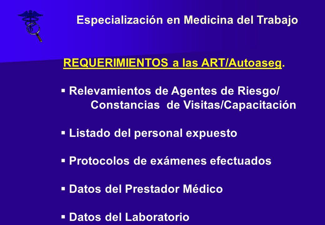 REQUERIMIENTOS a las ART/Autoaseg. Relevamientos de Agentes de Riesgo/ Constancias de Visitas/Capacitación Listado del personal expuesto Protocolos de