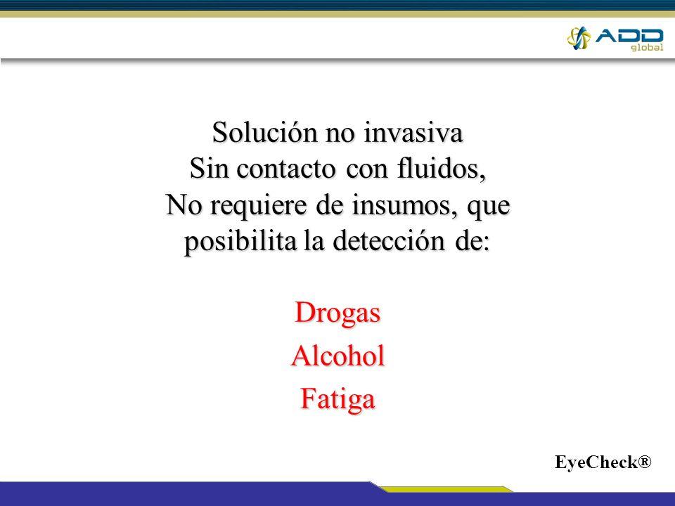 Solución no invasiva Sin contacto con fluidos, No requiere de insumos, que posibilita la detección de: DrogasAlcoholFatiga EyeCheck®