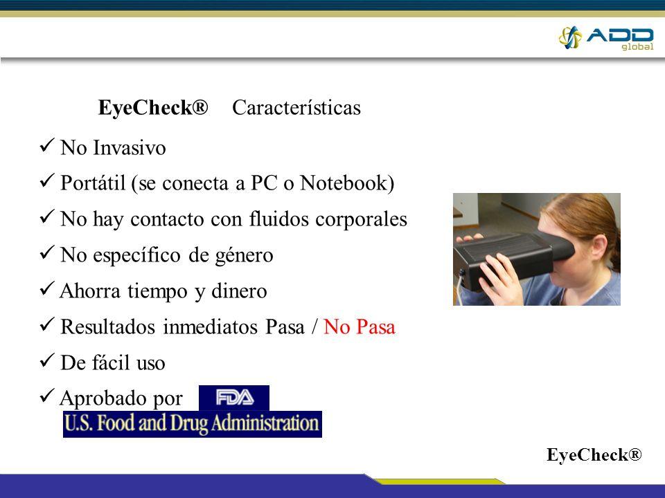 EyeCheck® Características No Invasivo Portátil (se conecta a PC o Notebook) No hay contacto con fluidos corporales No específico de género Ahorra tiem