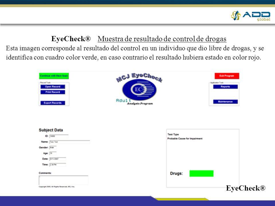 EyeCheck® Muestra de resultado de control de drogas Esta imagen corresponde al resultado del control en un individuo que dio libre de drogas, y se ide
