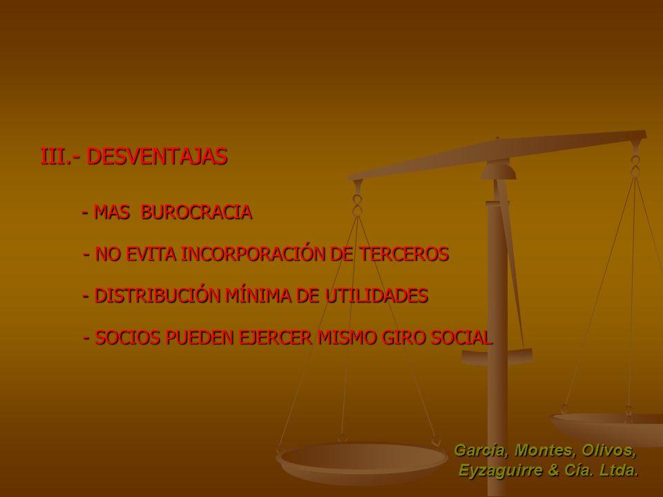 III.- DESVENTAJAS - MAS BUROCRACIA - NO EVITA INCORPORACIÓN DE TERCEROS - DISTRIBUCIÓN MÍNIMA DE UTILIDADES - SOCIOS PUEDEN EJERCER MISMO GIRO SOCIAL