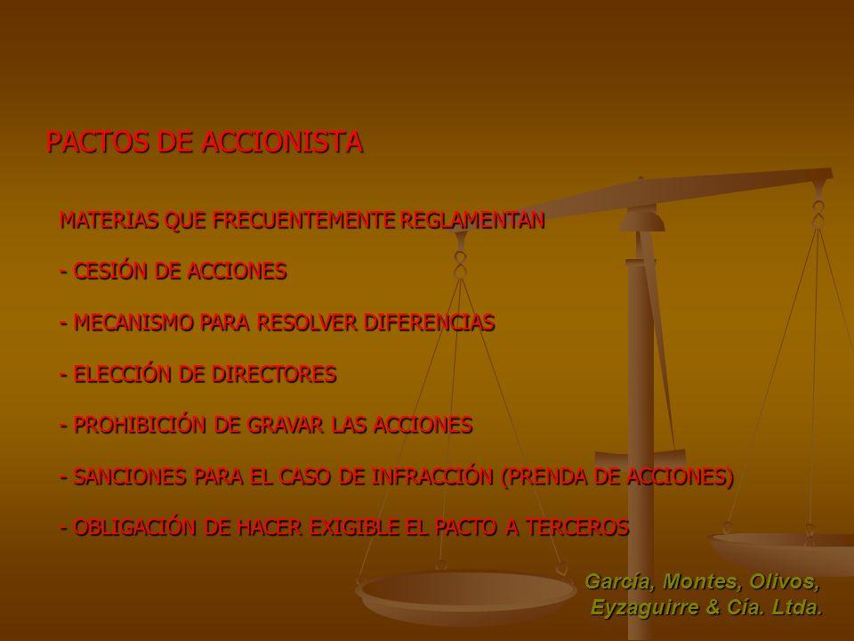 PACTOS DE ACCIONISTA MATERIAS QUE FRECUENTEMENTE REGLAMENTAN - CESIÓN DE ACCIONES - MECANISMO PARA RESOLVER DIFERENCIAS - ELECCIÓN DE DIRECTORES - PRO