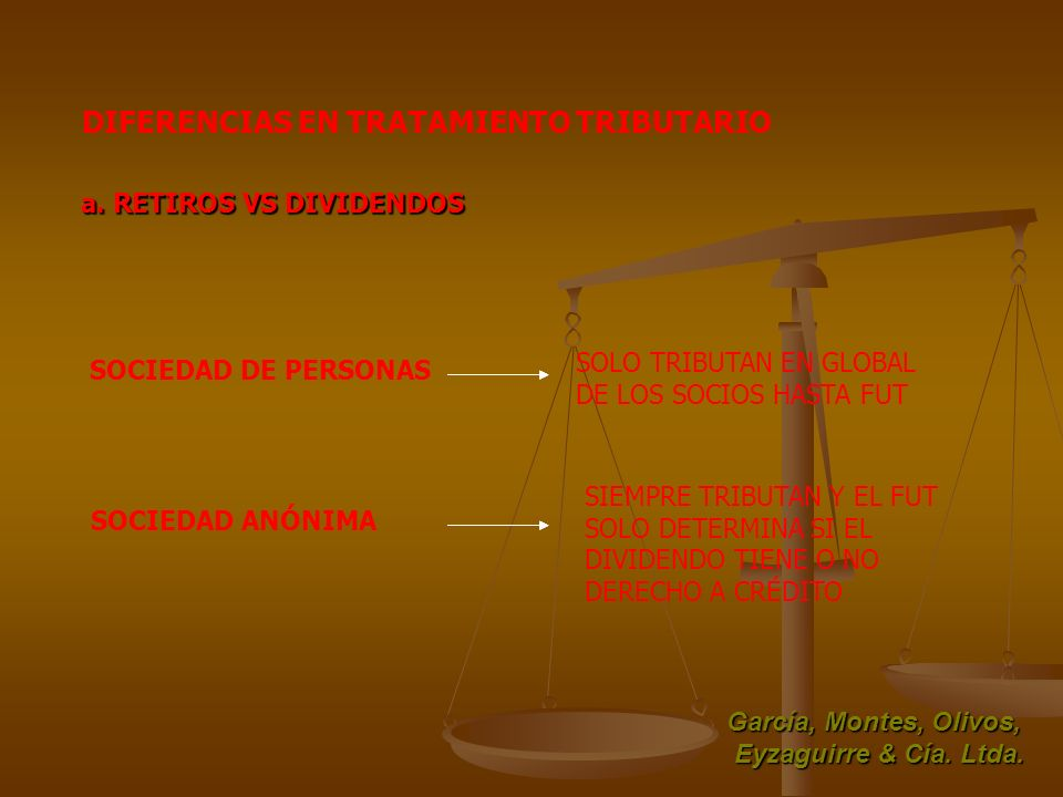 DIFERENCIAS EN TRATAMIENTO TRIBUTARIO García, Montes, Olivos, Eyzaguirre & Cía. Ltda. a. RETIROS VS DIVIDENDOS SOCIEDAD ANÓNIMA SIEMPRE TRIBUTAN Y EL