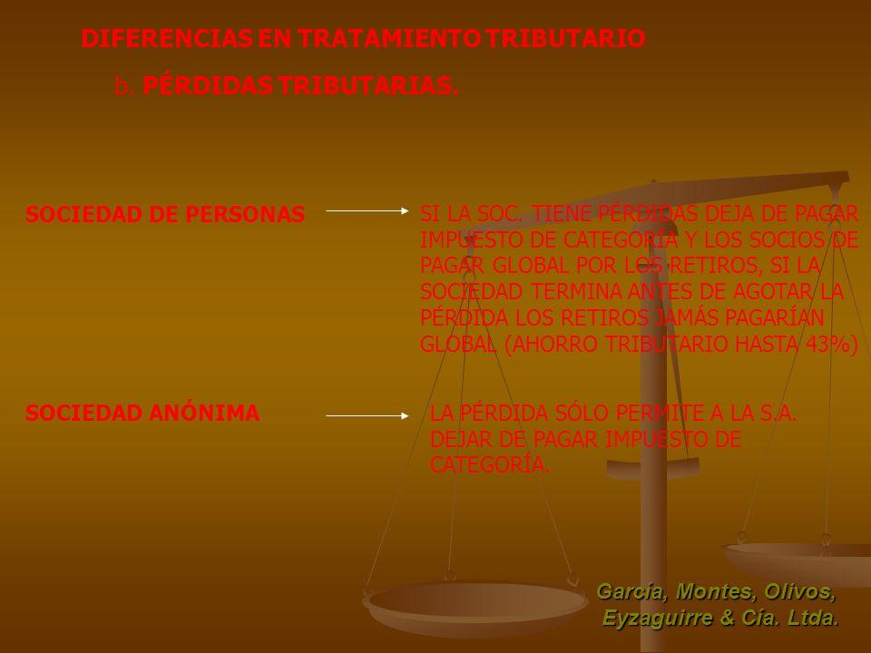 García, Montes, Olivos, Eyzaguirre & Cía. Ltda. DIFERENCIAS EN TRATAMIENTO TRIBUTARIO SOCIEDAD DE PERSONAS SOCIEDAD ANÓNIMA b. PÉRDIDAS TRIBUTARIAS. S