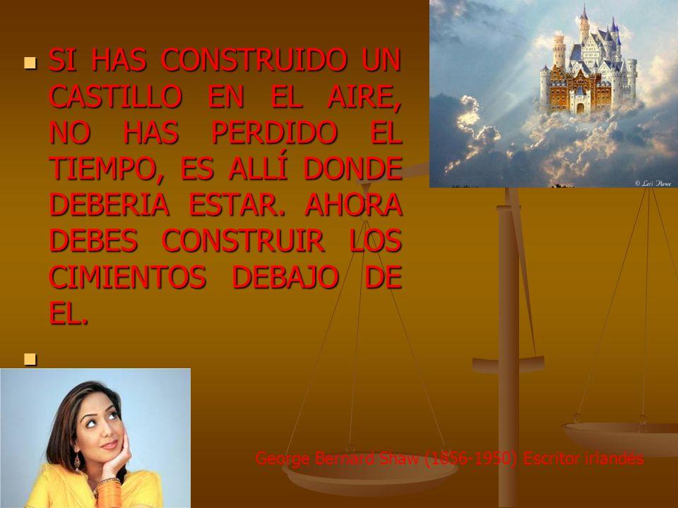 SI HAS CONSTRUIDO UN CASTILLO EN EL AIRE, NO HAS PERDIDO EL TIEMPO, ES ALLÍ DONDE DEBERIA ESTAR. AHORA DEBES CONSTRUIR LOS CIMIENTOS DEBAJO DE EL. SI