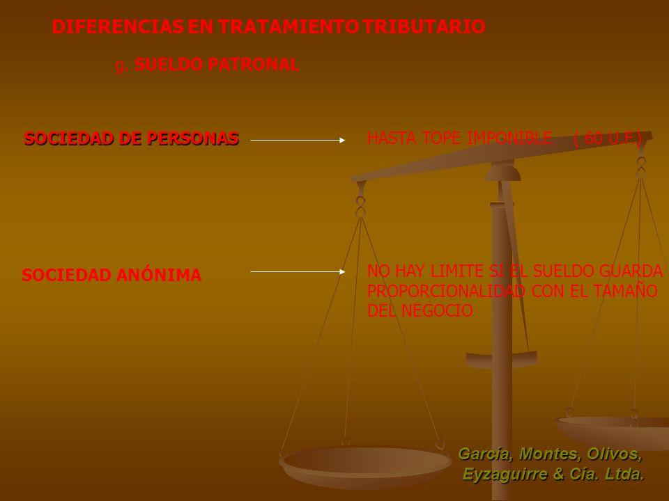 García, Montes, Olivos, Eyzaguirre & Cía. Ltda. DIFERENCIAS EN TRATAMIENTO TRIBUTARIO g. SUELDO PATRONAL SOCIEDAD DE PERSONAS HASTA TOPE IMPONIBLE ( 6