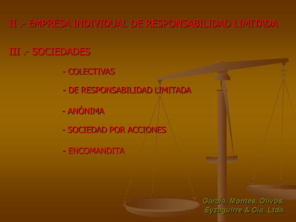 II.- EMPRESA INDIVIDUAL DE RESPONSABILIDAD LIMITADA III.- SOCIEDADES - COLECTIVAS - DE RESPONSABILIDAD LIMITADA - ANÓNIMA - SOCIEDAD POR ACCIONES - EN