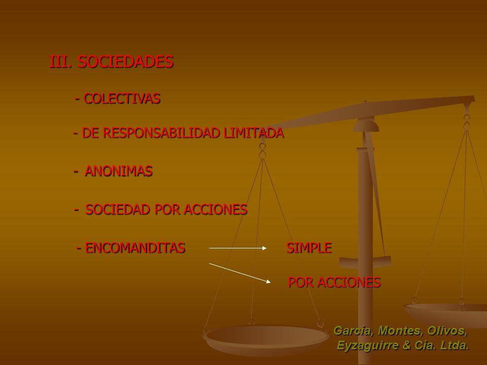 III. SOCIEDADES - COLECTIVAS - COLECTIVAS - DE RESPONSABILIDAD LIMITADA - ANONIMAS - ENCOMANDITAS SIMPLE POR ACCIONES García, Montes, Olivos, Eyzaguir
