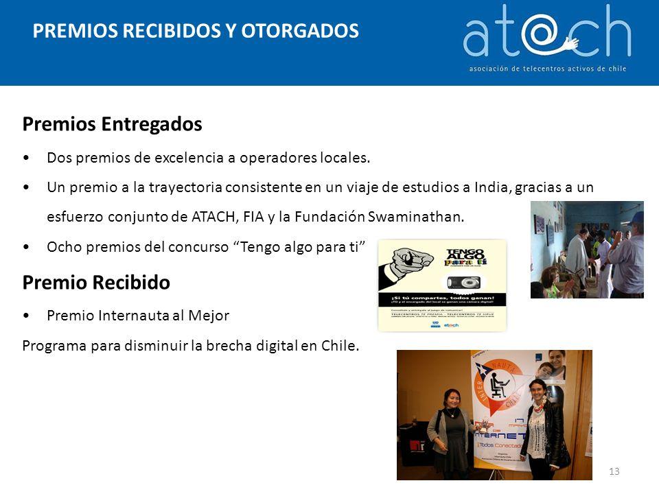 PREMIOS RECIBIDOS Y OTORGADOS Premios Entregados Dos premios de excelencia a operadores locales.